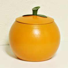Vintage canister  fruit shaped  metal  aluminum  by moxiethrift, $ 12.50
