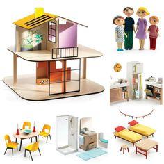 Cenově zvýhodněný set - Zabydlený dřevěný dvoupodlažní domeček pro panenky i s celou rodinkou. Domeček je vhodná hračka pro dívky ve věku cca 4 - 10 let. Domeček je přístupný ze všech stran a je snadné si hrát v jakékoliv místnosti.
