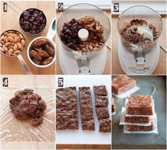 Raw, sugar free, energy bars that you must try! Healthy Energy Bar Recipes, Paleo Diet Snacks, Raw Food Recipes, Great Recipes, Cake Recipes, Sugar Free Energy Bars, Deglet Nour, Cheese Ingredients, 5 Recipe
