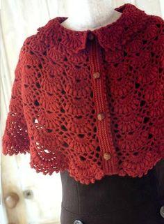 Red Capelet -- Ivelise Feito à Mão: Pelerine De Crochê