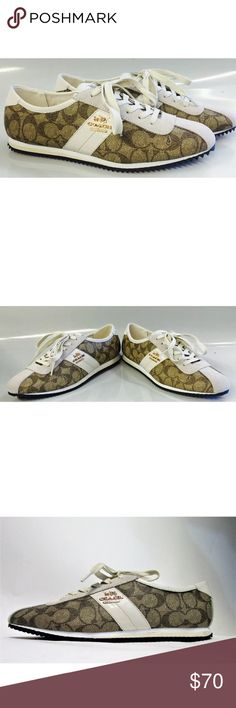 NEW Coach Ivy Signature Sneakers/Shoes NEW Coach Ivy Signature Sneakers/Shoes                                                                    Suede                                                            Synthetic sole                                      Embossed signature PVC and suede upper                                                    Suede and leather trim                                                              Rubber sole   Color: Khaki  Size:  8.5 Coach Shoes Sneakers