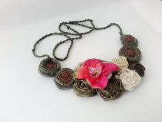 Brick and Green Bib Necklace Fabric Rosettes with by seragun