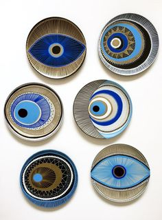 Unique Artwork that is hand-painted directly onto the plate Plates are ready Unique Artwork that is hand-painted directly onto the plate Plates are ready Hund Hund Unique Artwork that is nbsp hellip Painting walls Pottery Painting Designs, Paint Designs, Pottery Designs, Ceramic Painting, Ceramic Art, Ceramic Plates, Ceramic Pottery, Pottery Art, Evil Eye Art