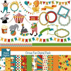 Circus Fun Digital Clipart and Paper Combo- Scrapbooking , card design, invitations, stickers, paper Carnival Games For Kids, Paper Crafts, Arts And Crafts, Kids Graphics, Printable Planner Stickers, Printables, Circus Theme, Scrapbook Paper, Scrapbooking