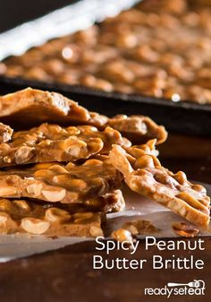 Peanut butter brittle with spicy heat from cinnamon and cayenne pepper is a perfect holiday treat