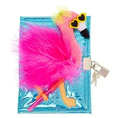 Flamingos are the life of the party! Try this blue holographic lock and key journal with a raised flamingo animal front. School Stationery, Stationery Set, Stationary, Pink Walpaper, Cute Disney Pictures, Mermaid Tails For Kids, Mickey Mouse Art, Baby Doll Nursery, Cute Notebooks