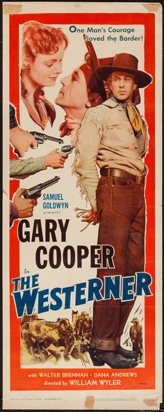 "Movie Posters:Western, The Westerner (Samuel Goldwyn, R-1954). Insert (14"" X 36"").Western.. ... Image #1"