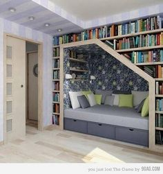 want a home library. with a reading nook.I want a home library. with a reading nook. Home Library Design, House Design, Library Ideas, Design Room, Modern Library, Chair Design, Attic Design, Sweet Home, Sweet 16