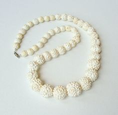 Vintage Necklace Carved Ivory Plastic Beads 50s RETRO Fashion Jewelry via Etsy