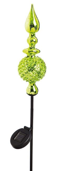 Features:  -Material: Glass and metal.  -Night Garden.  -Orientation: Landscape.  Product Type: -Garden stake.  Color: -Green and black.  Style: -Contemporary.  Material: -Glass/Metal.  Lighted: -Yes.                                                                                                                                                      More