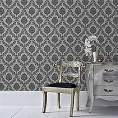 Graham & Brown - Black & Grey Jacquard Wallpaper