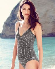 Garnet Hill Ruched Surplice Swimsuit
