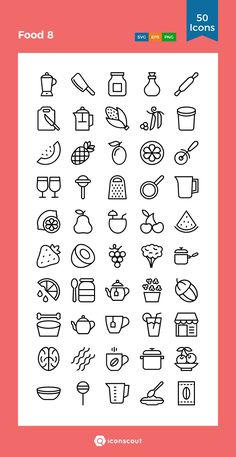 Food 8  Icon Pack - 50 Line Icons