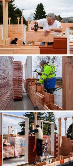 строительство деревянного дома из блоков