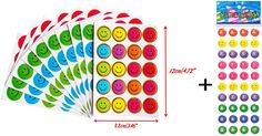 Happy Face Colored Reward Stickers + 39 FREE Smiley Puffy Stickers