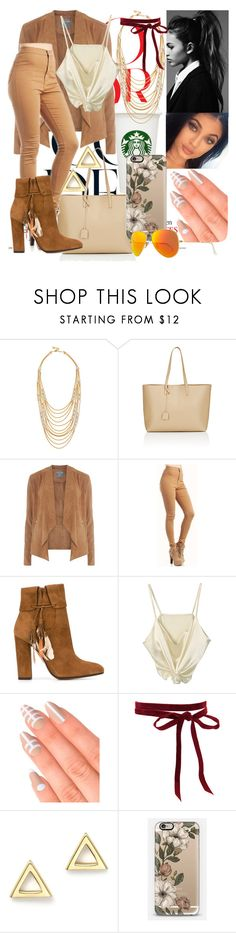 """Day By Day LVI"" by thatshowitsdone ❤ liked on Polyvore featuring Ben-Amun, Yves Saint Laurent, Dorothy Perkins, Aquazzura, Elegant Touch, Mateo, Casetify and Ray-Ban"