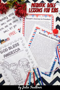 This set of four Patriotic-Themed Bible Lessons is perfect for kids' church, Sunday School, home school, Christian schools, and more. This no-prep themed teaching pack will show children - through the use of Bible stories and Bible characters - that we can be free from sin through Jesus Christ! This pack will teach children through July about people who experience the freeing power of Jesus in the Bible.
