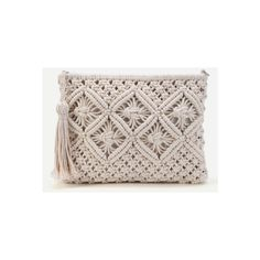 SheIn(sheinside) Crochet Clutch Bag With Tassel (€18) ❤ liked on Polyvore featuring bags, handbags, clutches, white, crochet purse, boho purses, tassel handbags, white crochet purse and straw clutches