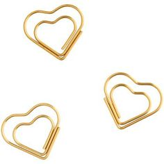 Make you papers pop with a gold heart paper clip! Includes 9 heart-shaped paper clips. From American Crafts.<br><br>Size - 3.5x 6