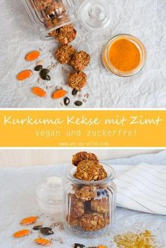 Saftige Kurkuma Kekse mit Zimt (vegan und zuckerfrei) Do you fancy vegan cookies? Our turmeric cookies are sugar-free, so they're pretty healthy cookies. Also suitable as a healthy Christmas biscu Biscuits Végétaliens, Vegan Biscuits, Sugar Free Recipes, Donut Recipes, Vegan Recipes, Healthy Cookies, Healthy Sweets, Cookies Vegan, Healthy Christmas Biscuits