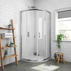 Pacific Offset Quadrant Shower Enclosure with Shower Tray & Waste - Left Hand Option at Victorian Plumbing UK Frameless Sliding Shower Doors, Sliding Glass Door, Sliding Doors, Corner Shower Enclosures, Quadrant Shower Enclosures, Pivot Doors, Shower Units, Black Curtains, Chrome Handles