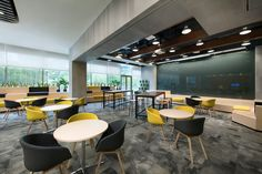 Browse and discover thousands of office design and workplace design photos - tagged and curated to make your search faster and easier. Corporate Interior Design, Corporate Interiors, Office Interiors, Retail Design, Visual Merchandising, Medical Office Design, Cafe Seating, Office Lounge, Office Chair Without Wheels