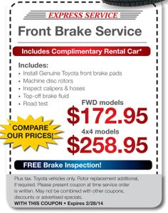 Brake service coupons toyota