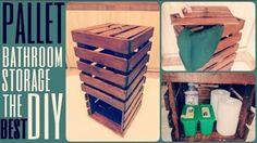 DIY pallet bathroom storage and hamper all in one.