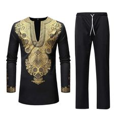 Ericdress African Fashion Dashiki Printed Shirts & Pants Mens Outfit Dresses, Costumes, Jewelry & More. Save on the Hottest Fashion Today! African Male Suits, African Shirts For Men, African Clothes, African Men, African Style, Mens Casual Suits, Casual Shirts For Men, Mens Suits, Vestidos