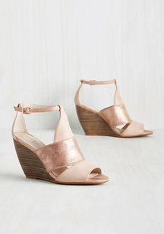 Hit the Ground Stunning Wedge. Be an energetic vision of style from the get-go by stepping out in these pastel pink wedges by BC Footwear! #pink #modcloth