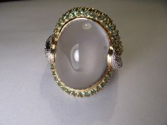 Beautiful Estate 14K Gold Cabochon Green Amethyst Tsavorite Pave Diamond Ring by ggemsonline on Etsy https://www.etsy.com/listing/241611460/beautiful-estate-14k-gold-cabochon-green