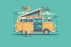 Explorers+Club:+Laguna+by+DKNG 1 000 × 800 pixels Deco Surf, Old Poster, Van Vw, Vw Camping, Car Illustration, Free Vector Illustration, Illustration Styles, Vw T1, Volkswagen