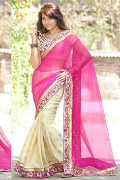 Andaaz Fashion new arrival Cream Pink Chiffon Jacquard Saree with Art Silk Blouse and Plain Pallu. Embellished with Resham, Zari work. Sari comes with designer Short Sleeve and stylish V Neck Blouse. This is prefect for Festival, Casual.  http://www.andaazfashion.us/womens/sarees/work/embroidered-saree