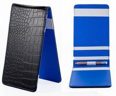 SS Tour | Crocodile Golf Scorecard & Yardage Book Holder Black/Blue Leather…