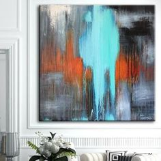 Extra large blue abstract painting, modern acrylic art, original abstract art, texture painting Blue Abstract Painting, Abstract Wall Art, Oil Painting On Canvas, Textured Canvas Art, Texture Painting, Acrylic Art, Custom Art, Beautiful Paintings, New Art