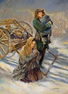 sandra rast art | Sandra Rast Art - Art Gallery : Pioneer Paintings : Silent Prayer ~ so many small children are lost on the trail and had be buried along the way by their grieving families.