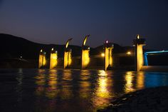 The Night view of Habcheonchangnyeong reservoir at Nakdong river among 16 reservoirs [ 16개 보 중, 낙동강 합천창녕보의 야경 ]
