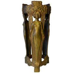 French Art Nouveau Bronze Stand by Charles Korschann, Paris, circa 1900 | From a unique collection of antique and modern vases and vessels at https://www.1stdibs.com/furniture/decorative-objects/vases-vessels/