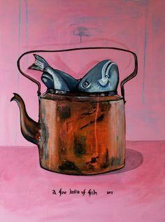 Kettle of Fish  60cm x 80cm  Acrylic on canvas