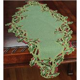Found it at Wayfair - Holiday Holly Embroidered Cutwork Table Runner