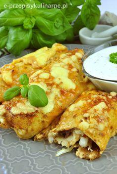 Naleśniki z gyrosem zapiekane w piekarniku - e-PrzepisyKulinarne.pl My Taco, Food Dishes, Tacos, Ethnic Recipes, Appetisers