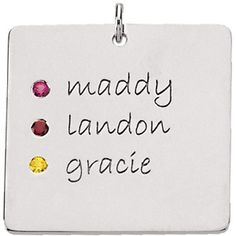 Posh Mommy Square 3 Names with Birthstones