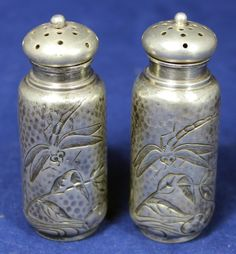 Aesthetic period  Dominick & Haff sterling silver salt & pepper shakers with a dragonfly motif, c1880's (jastermereel)
