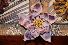 Gran original mixta concha mosaico Flores de la por allaexpression