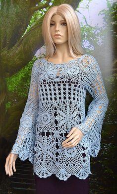 Crocheted sweater-blouse made to order crochet handmade by dosiak