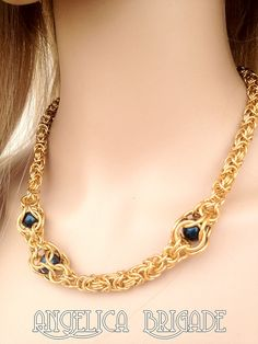 An  Unusual Chain Maille Necklace with Captive Swarovski Crystal Pearls https://www.etsy.com/listing/104951525/