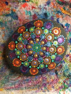 Mandala stone. Dot Art. Rock painting. Pearl paint. InspiredHeartArt. Inspired Heart Art.