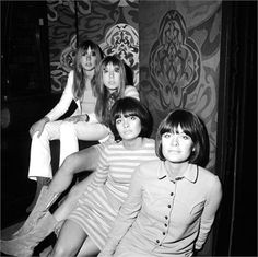 Two sets of identical twins worked as shop assistants at Biba's boutique, 1966.