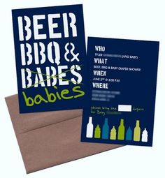 Guy Friendly Baby Shower Ideas - Beer, BBQ, and Babies Invitation