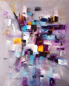 Peinture moderne acrylique multicolore gris rose violet jaune bleu blanc turquoise noir blanc sur châssis : Peintures par stephanie-menard